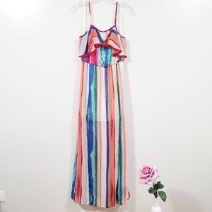 Candie's Rainbow Colorfull Maxi Dress Size S